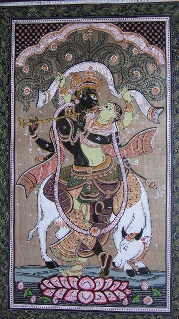 Krishna Radha Tasar Cloth Painting Ii | Painting by artist Pradeep Swain | other | Fabric