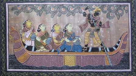 Folk Art Fabric Art Painting title God Tasar Cloth Painting Ii by artist Pradeep Swain
