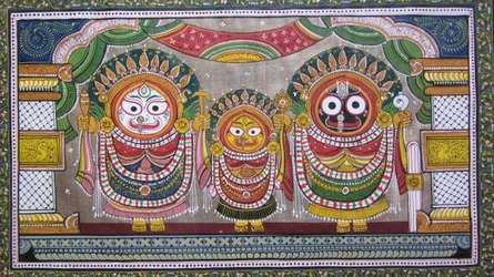 Pradeep Swain Paintings | Folk art Painting - God Tasar Cloth Painting I by artist Pradeep Swain | ArtZolo.com
