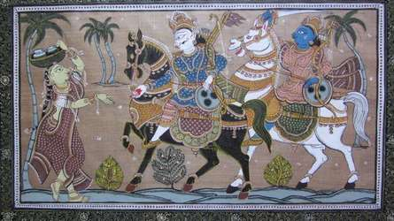 Folk Art Fabric Art Painting title 'King's Excursion Tasar Cloth Painting' by artist Pradeep Swain