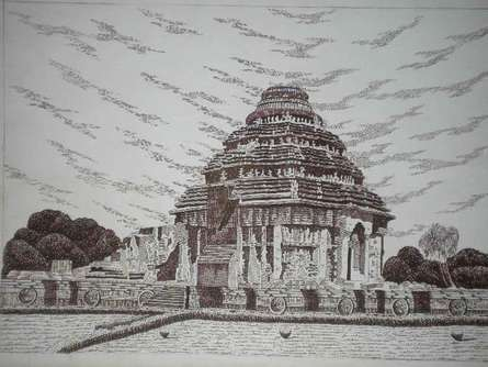 Pen Paintings | Drawing title Konark 01 on Paper | Artist Pradeep Swain