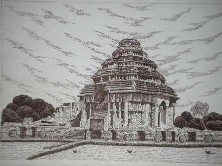 Konark-01 | Drawing by artist Pradeep Swain |  | pen | Paper