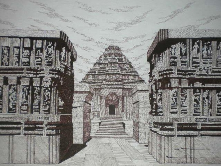 Cityscape Pen Art Drawing title 'Konark 03' by artist Pradeep Swain