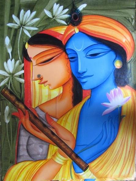 Pradeep Swain | Acrylic Painting title Krishna Radha 1 on Canvas | Artist Pradeep Swain Gallery | ArtZolo.com