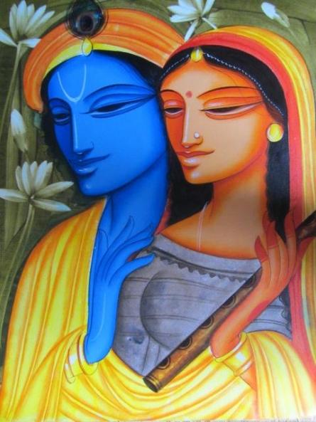 Folk Art Acrylic Art Painting title 'Krishna Radha 2' by artist Pradeep Swain