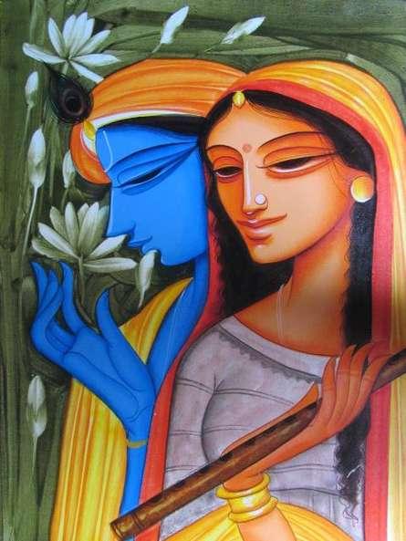 Religious Acrylic Art Painting title 'Krishna Radha 3' by artist Pradeep Swain