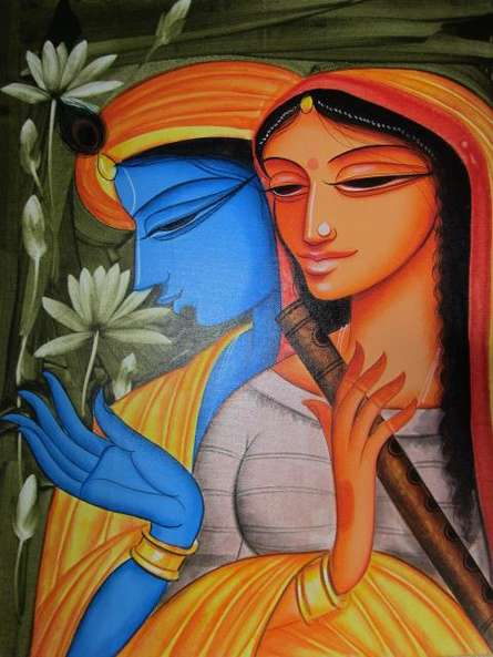 Religious Acrylic Art Painting title 'Krishna Radha 4' by artist Pradeep Swain