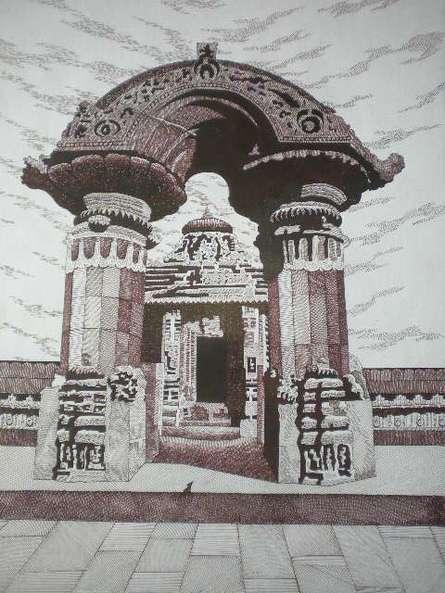 Cityscape Pen Art Drawing title 'Mukteshwar' by artist Pradeep Swain