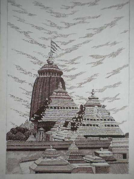 Puri | Drawing by artist Pradeep Swain |  | pen | Paper