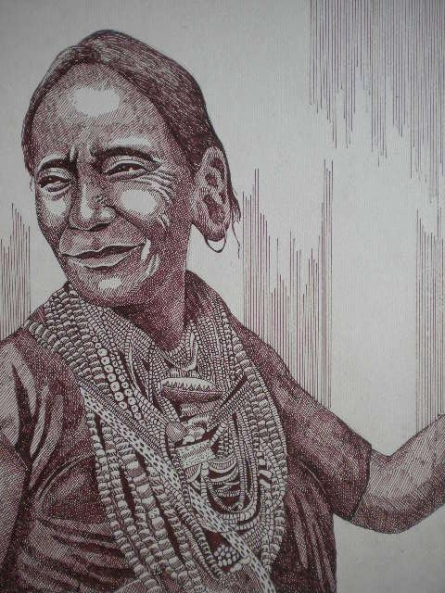 Portrait Pen Art Drawing title 'Tribal Lady 1' by artist Pradeep Swain