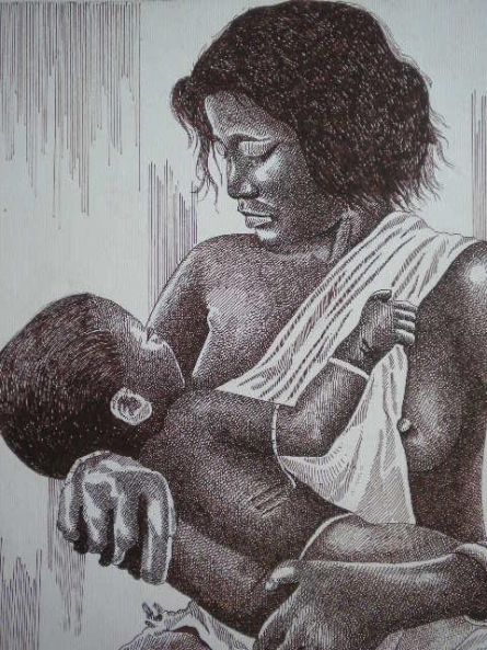 Figurative Pen Art Drawing title 'Tribal Lady 2' by artist Pradeep Swain