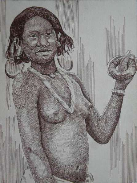 Nude Pen Art Drawing title 'Tribal Lady 4' by artist Pradeep Swain