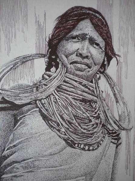 Portrait Pen Art Drawing title 'Tribal Lady 5' by artist Pradeep Swain