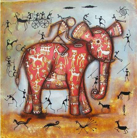 Animals Acrylic Art Painting title Riding Elephant Tribal Painting Pink by artist Pradeep Swain