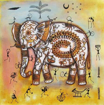 Animals Acrylic Art Painting title 'Elephant Tribal Painting Ii' by artist Pradeep Swain