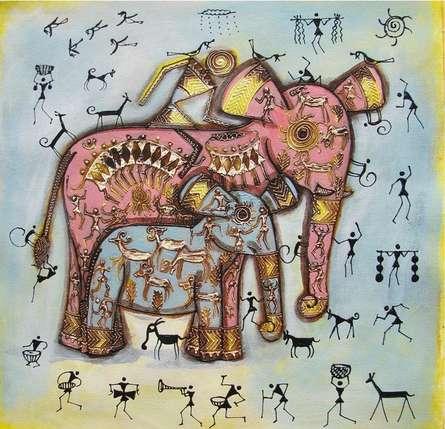 Animals Acrylic Art Painting title 'Elephant With Baby Tribal Painitng Blue' by artist Pradeep Swain