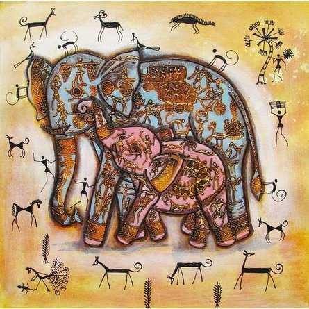Elephant With Baby Tribal Painitng Yellow | Painting by artist Pradeep Swain | acrylic | Canvas