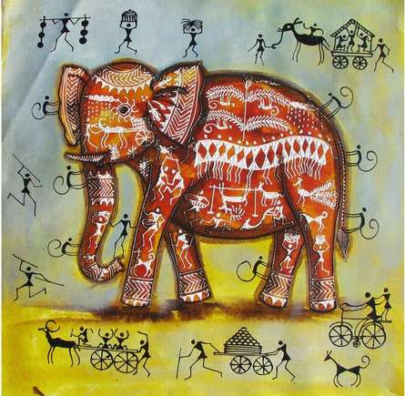 Animals Acrylic Art Painting title Elephant Tribal Painting I by artist Pradeep Swain