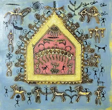 Folk Art Tribal Art Painting title 'Warli Art 5' by artist Pradeep Swain