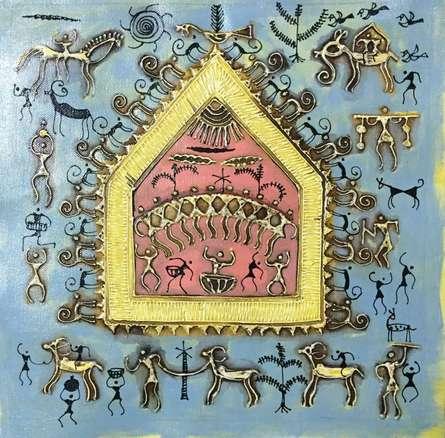 Warli Art 5 | Painting by artist Pradeep Swain | other | Canvas