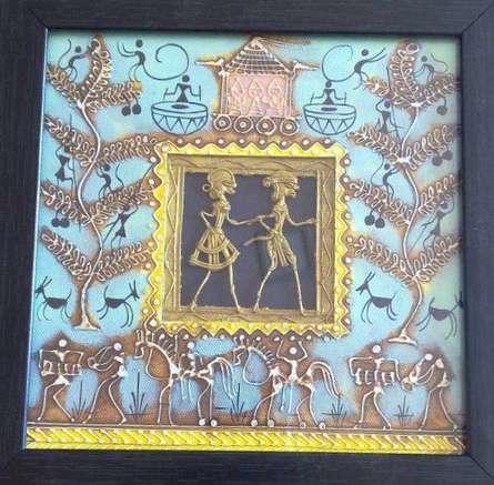 Folk Art Tribal Art Painting title 'Dokra Art 14' by artist Pradeep Swain