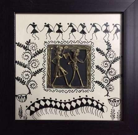 Pradeep Swain Paintings | Tribal Painting - Dokra Art 1 by artist Pradeep Swain | ArtZolo.com