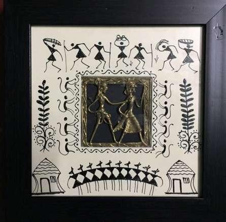Folk Art Tribal Art Painting title 'Dokra Art 4' by artist Pradeep Swain