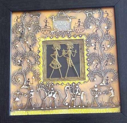 Pradeep Swain Paintings | Tribal Painting - Dokra Art 17 by artist Pradeep Swain | ArtZolo.com