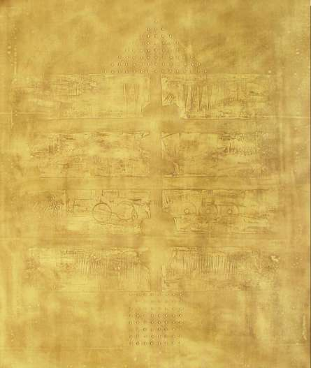 Solid Golden Abstract I | Painting by artist Mohit Bhatia | acrylic | Canvas