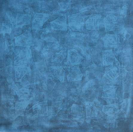 Mohit Bhatia | Acrylic Painting title Solid Blue Abstract Ii on Canvas | Artist Mohit Bhatia Gallery | ArtZolo.com