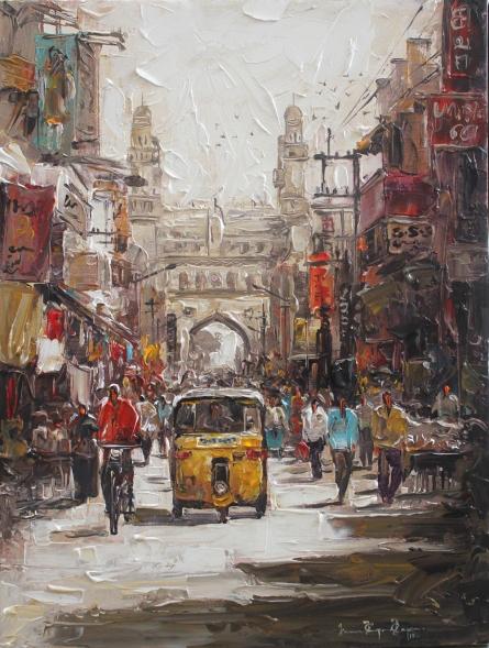 Iruvan Karunakaran | Acrylic Painting title Charminar 2 on Canvas