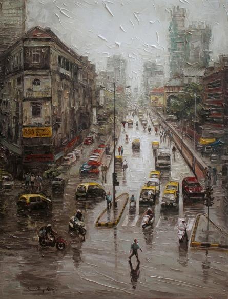 Iruvan Karunakaran | Acrylic Painting title Cityscape 2 on Canvas