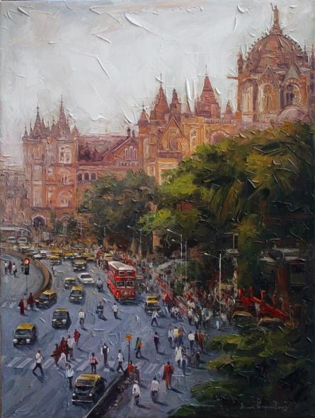 Iruvan Karunakaran | Acrylic Painting title Cityscape 3 on Canvas