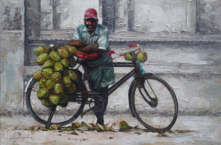 Figurative Acrylic Art Painting title 'Coconut Seller' by artist Iruvan Karunakaran