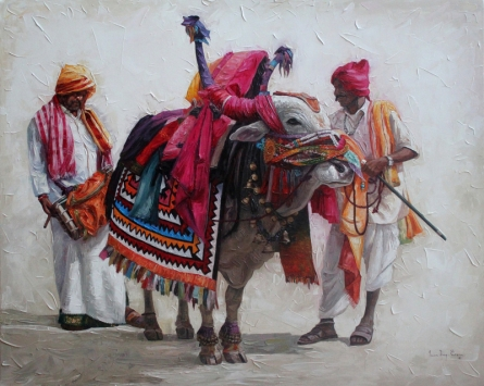 Figurative Acrylic Art Painting title 'Gangireddu 2' by artist Iruvan Karunakaran
