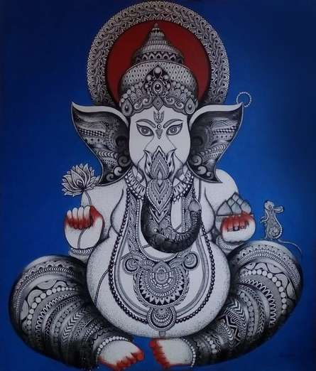 contemporary Acrylic-pen Art Painting title Ganesha by artist Anjali Singh