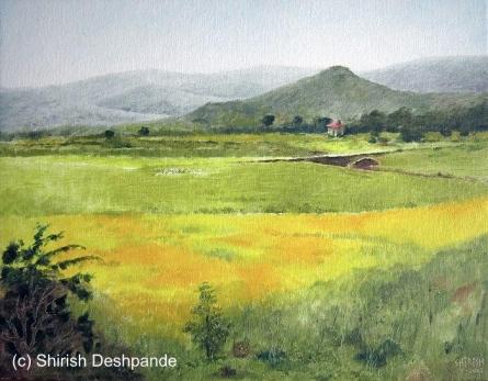 Landscape Oil Art Painting title 'Mustard Fields' by artist Shirish Deshpande