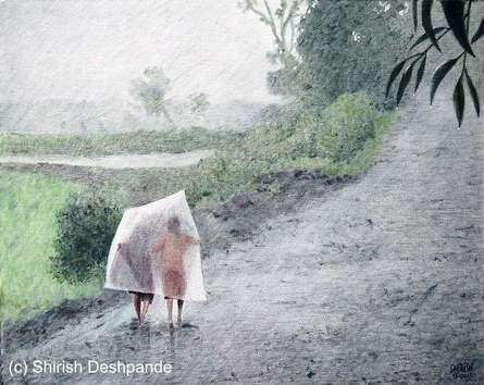 Raining All The Day   Painting by artist Shirish Deshpande   oil   Canvas