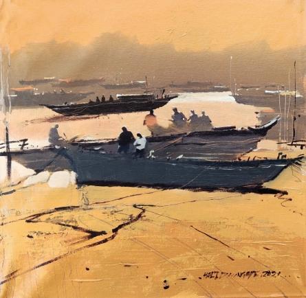 art, painting, acrylic, canvas, seascape