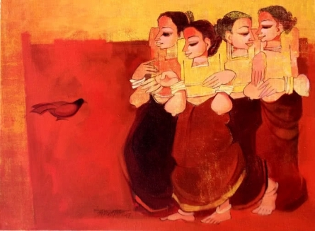 Conversation | Painting by artist Sarang Waghmare | acrylic | Canvas