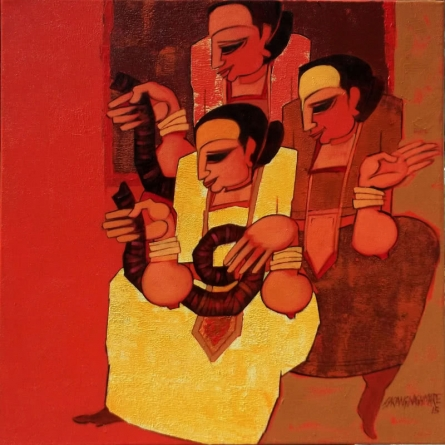 Sarang Waghmare | Acrylic Painting title Jogava 10 on Canvas | Artist Sarang Waghmare Gallery | ArtZolo.com