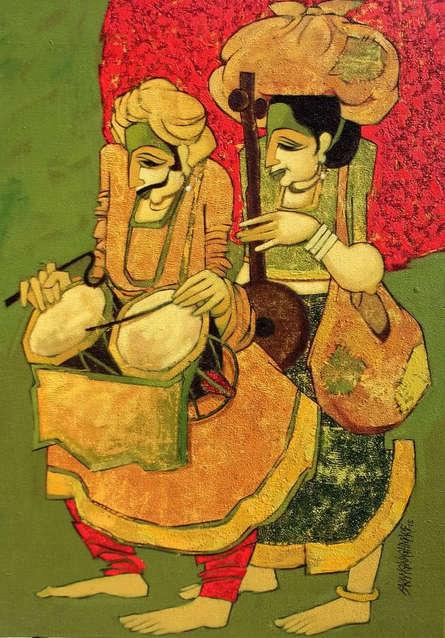 Figurative Acrylic Art Painting title 'Jogava 18' by artist Sarang Waghmare
