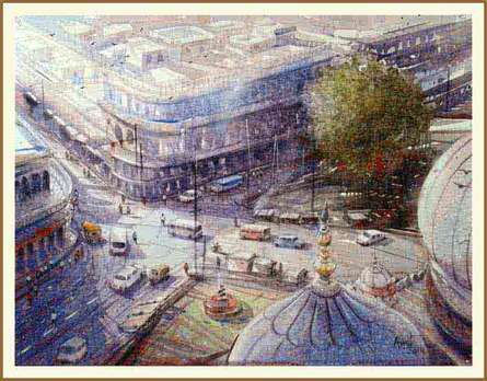 Cityscape Watercolor Art Painting title 'Izmir Turkey II' by artist Amit Kapoor