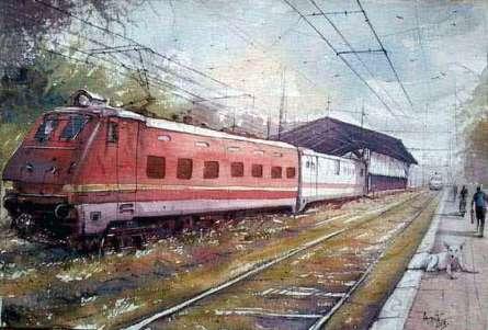 Landscape Watercolor Art Painting title 'Platform 1' by artist Amit Kapoor