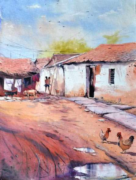 Village Secnic | Painting by artist Amit Kapoor | watercolor | Handmade Paper