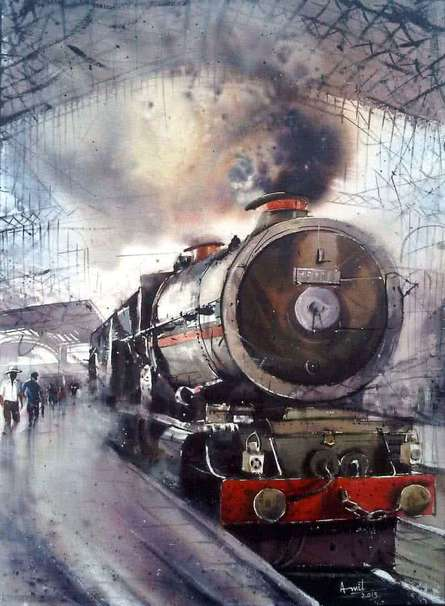 Landscape Watercolor Art Painting title 'The Train' by artist Amit Kapoor