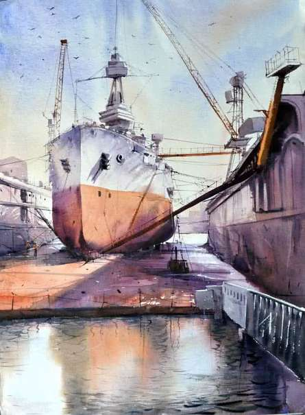 Ship Yard | Painting by artist Amit Kapoor | watercolor | Handmade Paper
