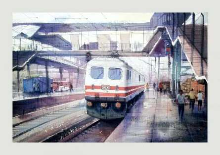 Platform-2 | Painting by artist Amit Kapoor | watercolor | Handmade Paper