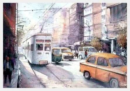 Landscape Watercolor Art Painting title 'Kolkata' by artist Amit Kapoor