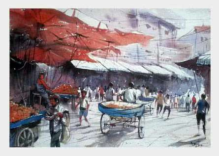Amit Kapoor | Watercolor Painting title Market Secnic on Handmade Paper | Artist Amit Kapoor Gallery | ArtZolo.com